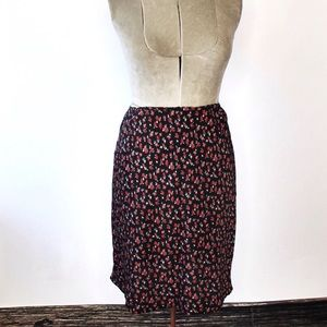 🎀3/30 Vintage M Collection Black Red Floral Skirt